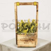 Дървено кладенче с цветя за декорация на дома