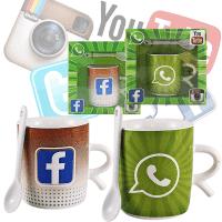 Порцеланова чаша и лъжичка с лого Facebooк