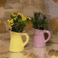 Вазички с цветя 2бр./декорация с изкуствени цветя