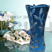 """Синя,стъклена ваза 24см. """"Rosini"""""""