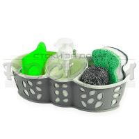 Органайзер за течен сапун и гъби/аксесоари за мивка-дозатор,поставка